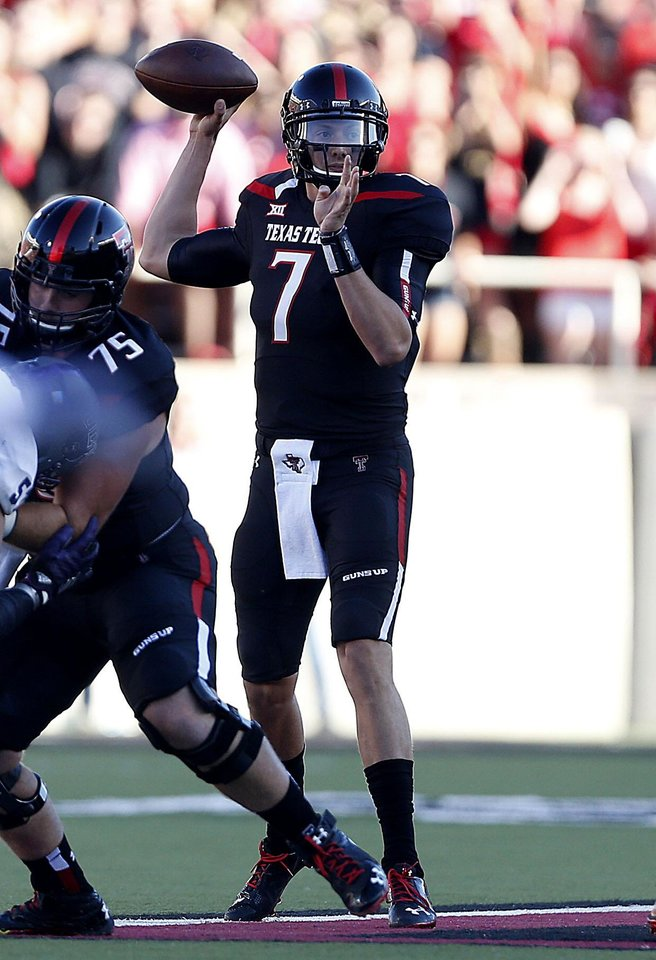 Photo - Texas Tech's Davis Webb (7) throws a pass against Central Arkansas during an NCAA college football game in Lubbock, Texas, Saturday, Aug. 30, 2014. (AP Photo/Lubbock Avalanche-Journal, Tori Eichberger) ALL LOCAL TELEVISION OUT