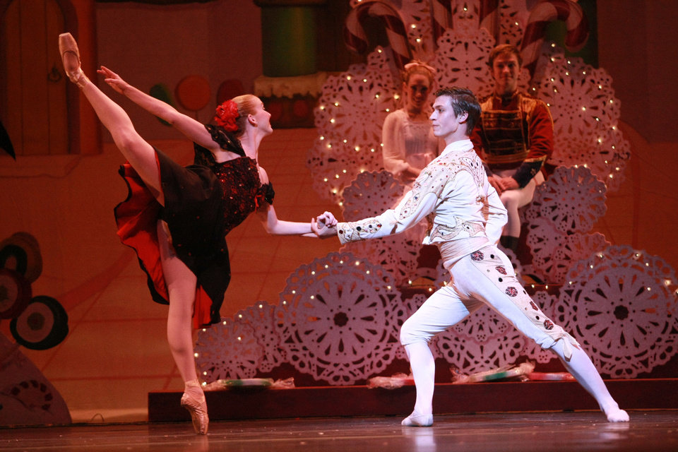 Photo - Oklahoma City Ballet's Stephanie Pitts and Jerry Pines appear in costume as Spanish dancers in