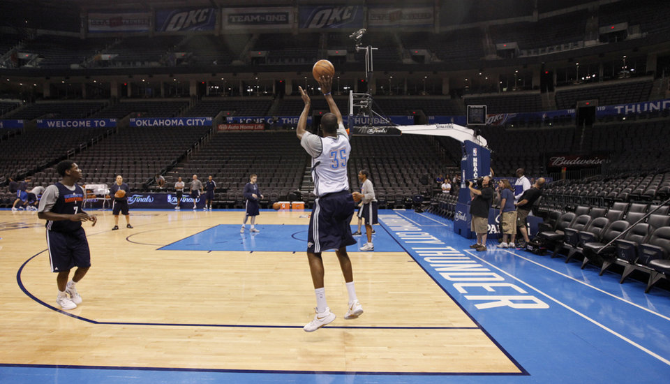 Oklahoma City\'s Kevin Durant takes a shot during the NBA Finals practice day at the Chesapeake Energy Arena on Monday, June 11, 2012, in Oklahoma City, Okla. Photo by Chris Landsberger, The Oklahoman