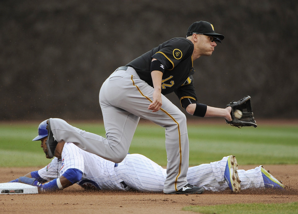Photo - Chicago Cubs' Emilio Bonifacio steals second base as Pittsburgh Pirates shortstop Clint Barmes (12) takes the throw during the first inning of a baseball game, Thursday, April 10, 2014 in Chicago.  (AP Photo/David Banks)