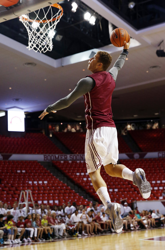 Blake Griffin dunks the ball as the University of Oklahoma Sooners (OU) basketball alumni play at The Lloyd Noble Center on Saturday, Aug. 24, 2013  in Norman, Okla. Photo by Steve Sisney, The Oklahoman