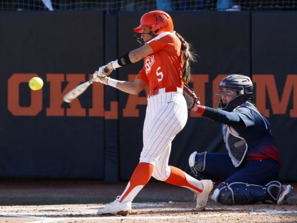 Photo -  OSU's Kiley Naomi (5) hits a home run against Illinois-Chicago in the first inning Friday in Stillwater. [Nate Billings/The Oklahoman]