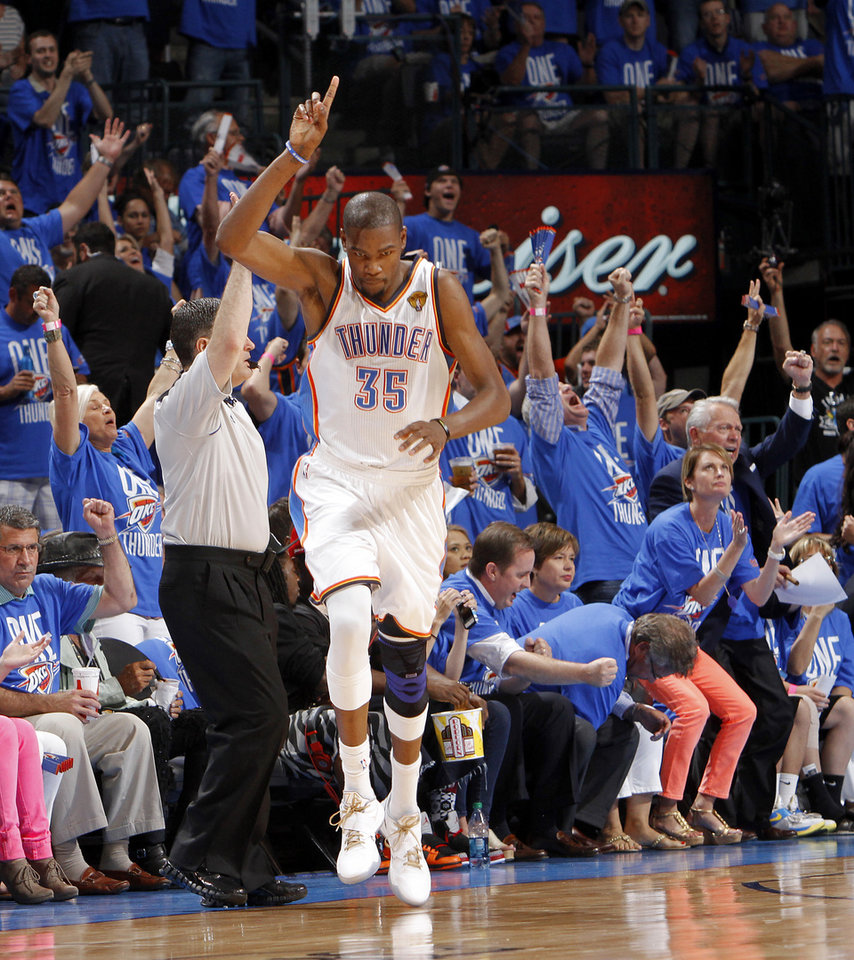 Oklahoma City's Kevin Durant (35) reacts during Game 1 of the NBA Finals between the Oklahoma City Thunder and the Miami Heat at Chesapeake Energy Arena in Oklahoma City, Tuesday, June 12, 2012. Photo by Chris Landsberger, The Oklahoman