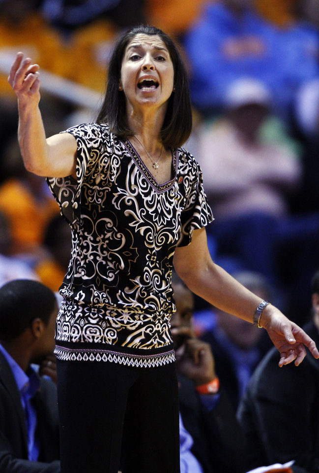Oral Roberts head coach Misti Cussen directs her team in the second half of a first-round game in the women's NCAA college basketball tournament against Tennessee, Saturday, March 23, 2013, in Knoxville, Tenn. Tennessee won 83-62. (AP Photo/Wade Payne)