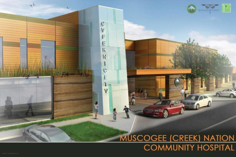 Photo - >An artist's rendering shows a planned health facility in Okemah. The Muscogee Nation is constructing two new facilities as part of its investments in health. [Provided by Muscogee Nation]
