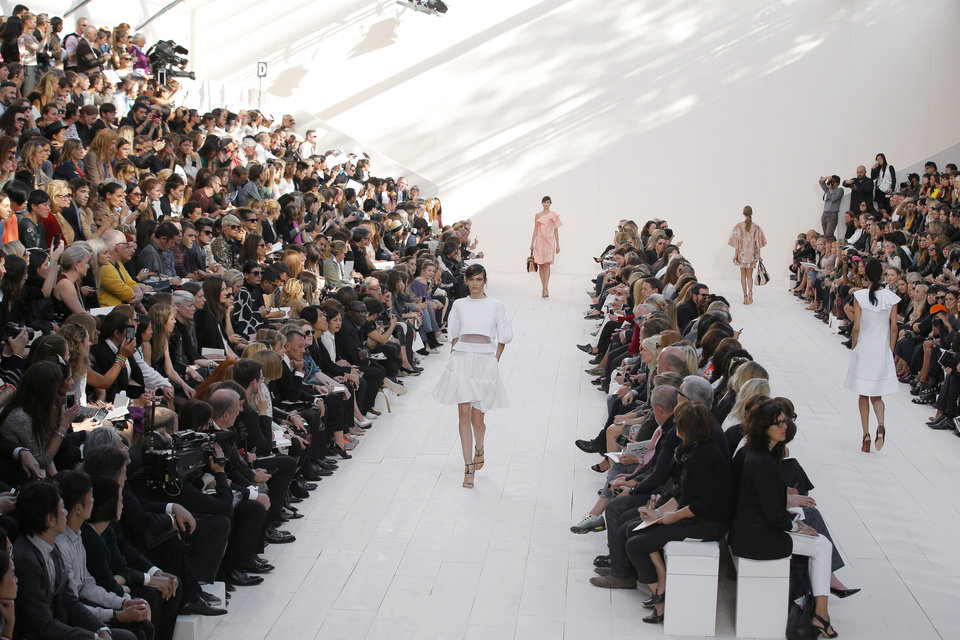 Photo -   Models wear creations by fashion designer Clare Waight Keller for Chloe's ready to wear Spring-Summer 2013 collection, presented in Paris, Monday, Oct. 1, 2012. (AP Photo/Francois Mori)