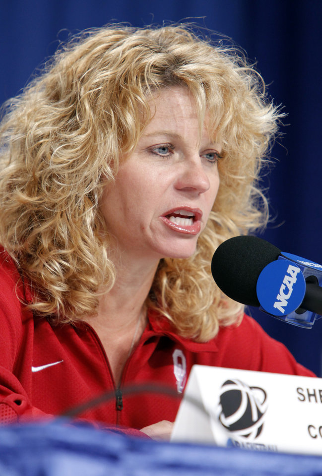 Photo - Head coach Sherri Coale speaks during a press conference before practice for round two of the 2009 NCAA Division I Women's Basketball Tournament at Carver-Hawkeye Arena at the University of Iowa in Iowa City, IA on Monday, March 23, 2009. 