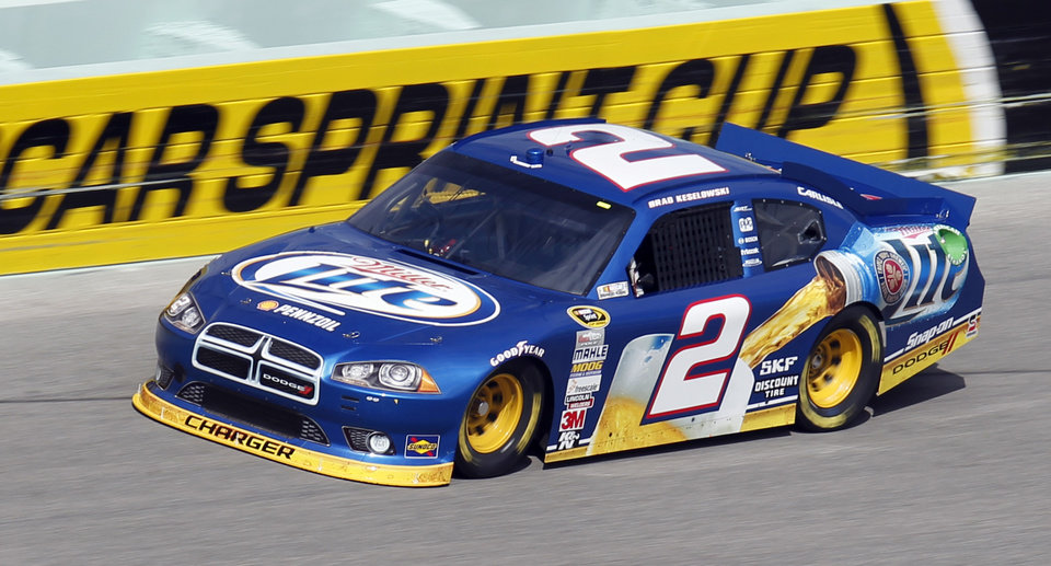 Brad Keselowski practices for Sunday\'s NASCAR Sprint Cup Series auto race at Homestead-Miami Speedway in Homestead, Fla., Friday, Nov. 16, 2012. (AP Photo/Alan Diaz)