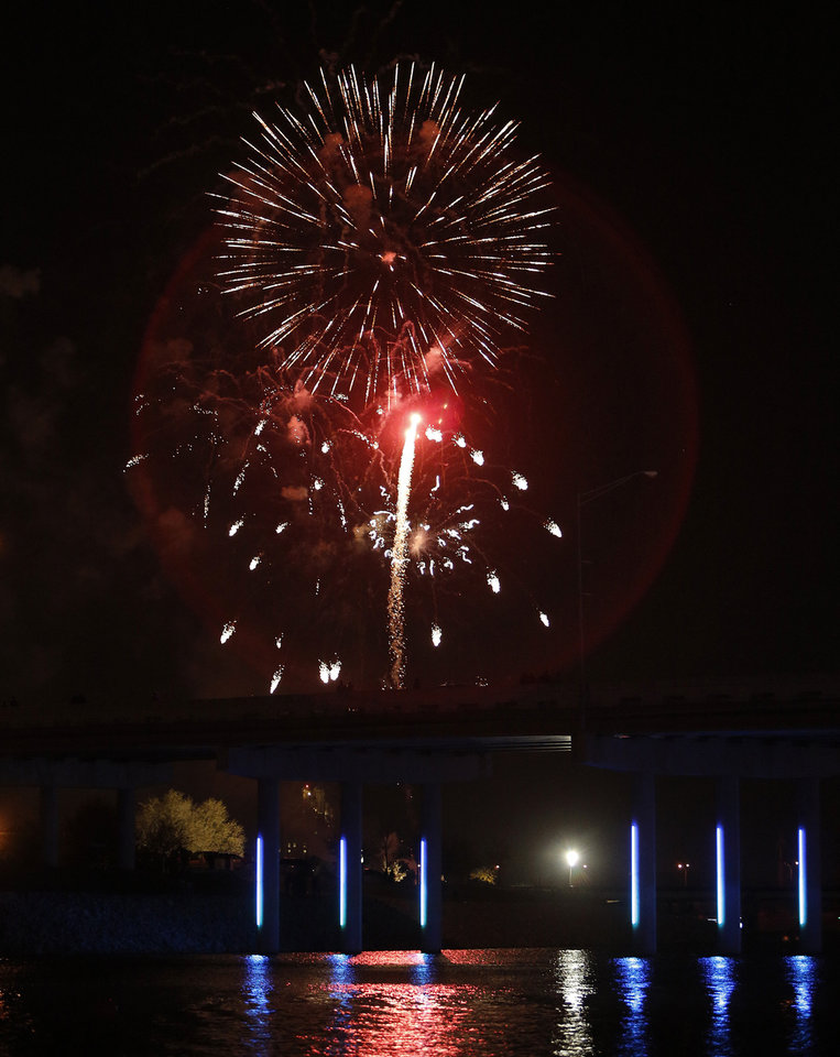 Fireworks during the Oklahoma River Boat Parade in Oklahoma City, Friday, Nov. 23, 2012.  Photo by Garett Fisbeck, The Oklahoman