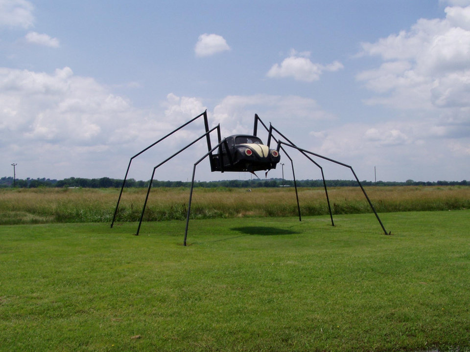 Community Photo By: Joe Stine Submitted By: Nancy, BIG BUG Travelling south from Noble to Lexington on Highway 77, is this huge unique spider, one of our favorite landmarks. It\'s something you don\'t see every day.