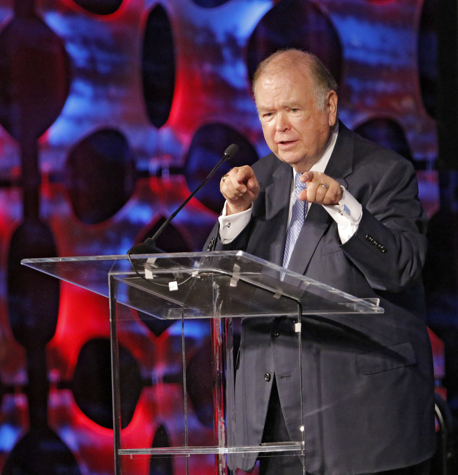 Photo - University of Oklahoma President David Boren speaks during the Oklahoma State School Boards Association's 2016 conference at the COX Convention Center in Oklahoma City, Friday August, 26 2016. Photo By Steve Gooch, The Oklahoman