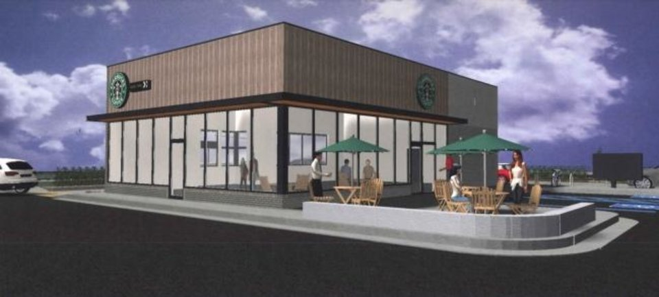 Photo -  A Starbucks proposed for the corner of NW 23 and Robinson is shown in this rendering. Provided.