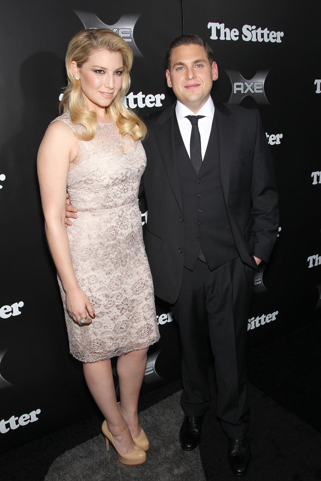 "Actors Jonah Hill, right, and Ari Graynor pose at the premiere of their film, ""The Sitter,"" Tuesday, Dec. 6, 2011, at the Chelsea Clearview Cinemas in New York. (AP Photo/Starpix, Marion Curtis) ORG XMIT: NYET941"