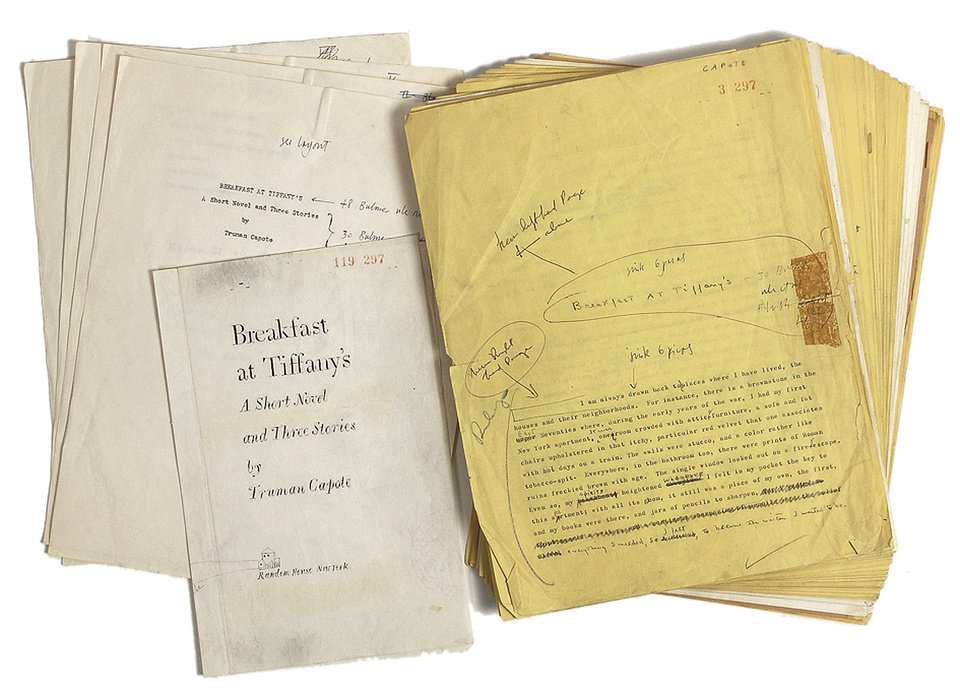 This undated photo provided by RR Auctions in Amherst, N.H., shows a 1958 typed manuscript of Breakfast at Tiffany\'s with hand annotations by Truman Capote, which will be featured with other Hollywood-themed items at auction in late April 2013. (AP Photo/RR Auctions)