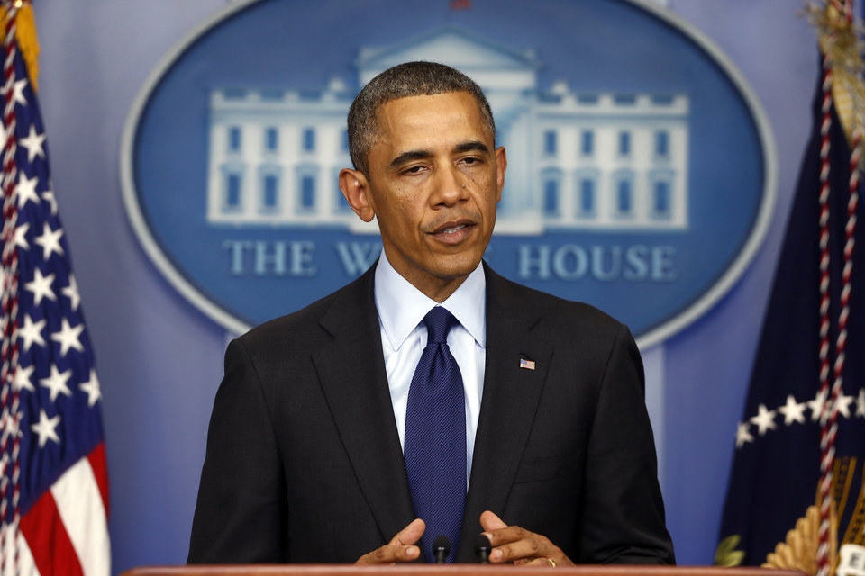 President Barack Obama speaks in the Brady Press Briefing at the White House in Washington, Friday, April 19, 2013, regarding the Boston Marathon bombing. (AP Photo/Charles Dharapak) ORG XMIT: WHCD102