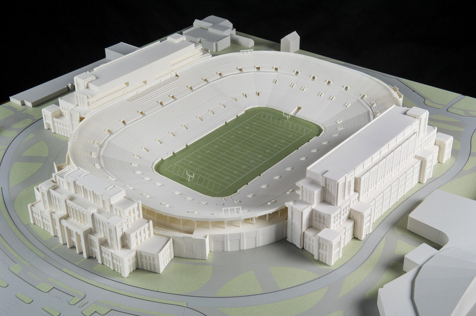 """Photo - In this Jan. 17, 2014 photo is a model of The University of Notre Dame's new football stadium. Notre Dame announced plans Wednesday, Jan. 29, 2014 to expand the school's 84-year-old football stadium, adding up to 4,000 premium seats and spending about $400 million to add buildings on three sides of the """"House that Rockne Built."""" (AP Photo/The University of Notre Dame, Barbara Johnston)"""