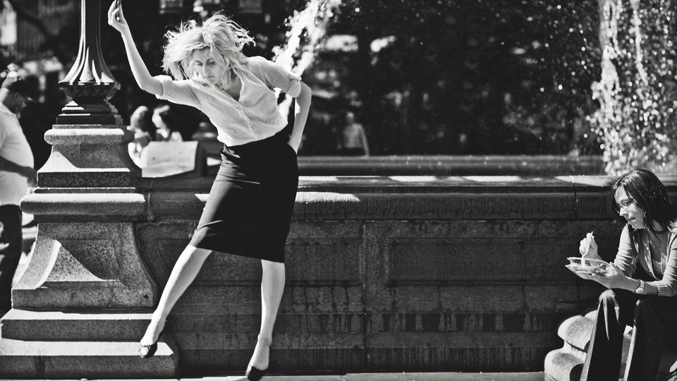 Photo - This undated publicity photo released by the Independent Film Channel shows Greta Gerwig, left, as Frances dancing in front of fountain in a scene from the film,