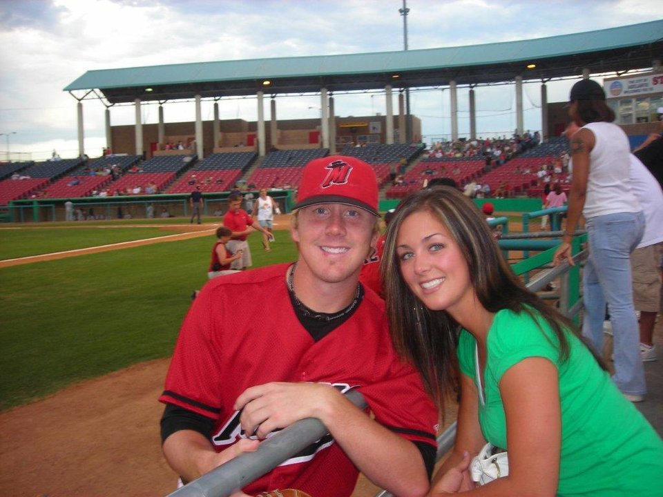 Brandon and Melanie Weeden at a minor league baseball field. PHOTO PROVIDED