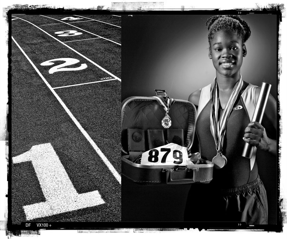 SECOND PLACE, PHOTO PACKAGE:  Northeast Academy High School's Takoya Simpkins track player of the year Spring sports honor roll shot in the OPUBCO studio on Thursday, May 22, 2008, in Oklahoma City, Okla.  staff photo Illustration by CHRIS LANDSBERGER
