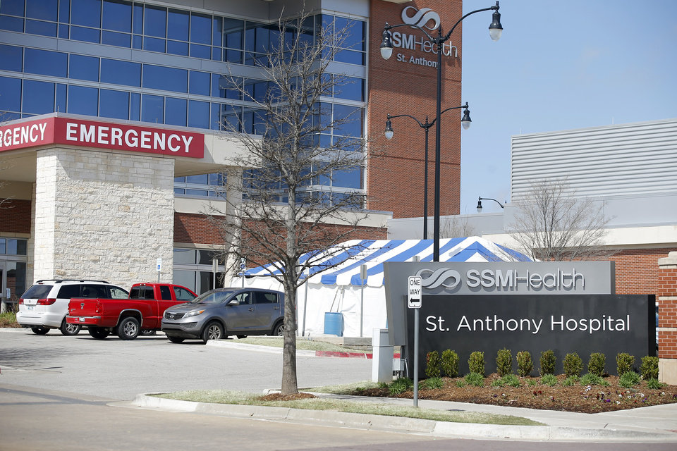 Photo - An exterior photo of the emergency room entrance at SSM Health St. Anthony Hospital in Oklahoma City, Wednesday, March 18, 2020. [Bryan Terry/The Oklahoman]