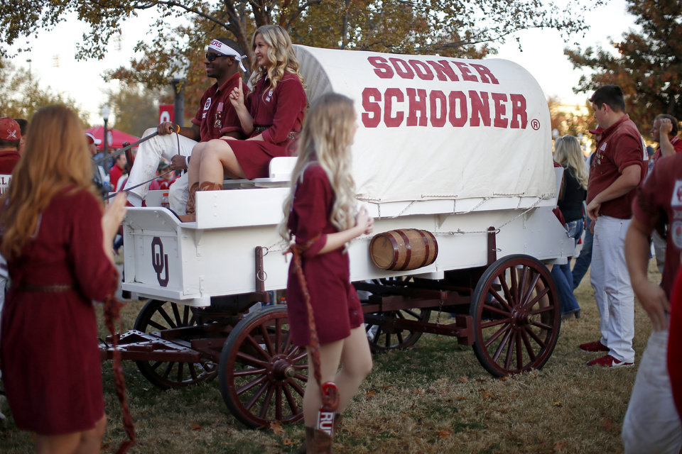 Photo - The Sooner Schooner is parked outside the stadium before an NCAA football game between the University of Oklahoma Sooners (OU) and the Iowa State University Cyclones at Gaylord Family-Oklahoma Memorial Stadium in Norman, Okla., Saturday, Nov. 9, 2019. [Bryan Terry/The Oklahoman]