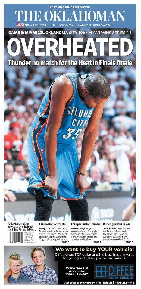 The Oklahoman, June 22, 2012, after the Thunder's Game 5 loss to the Miami Heat in the NBA Finals.