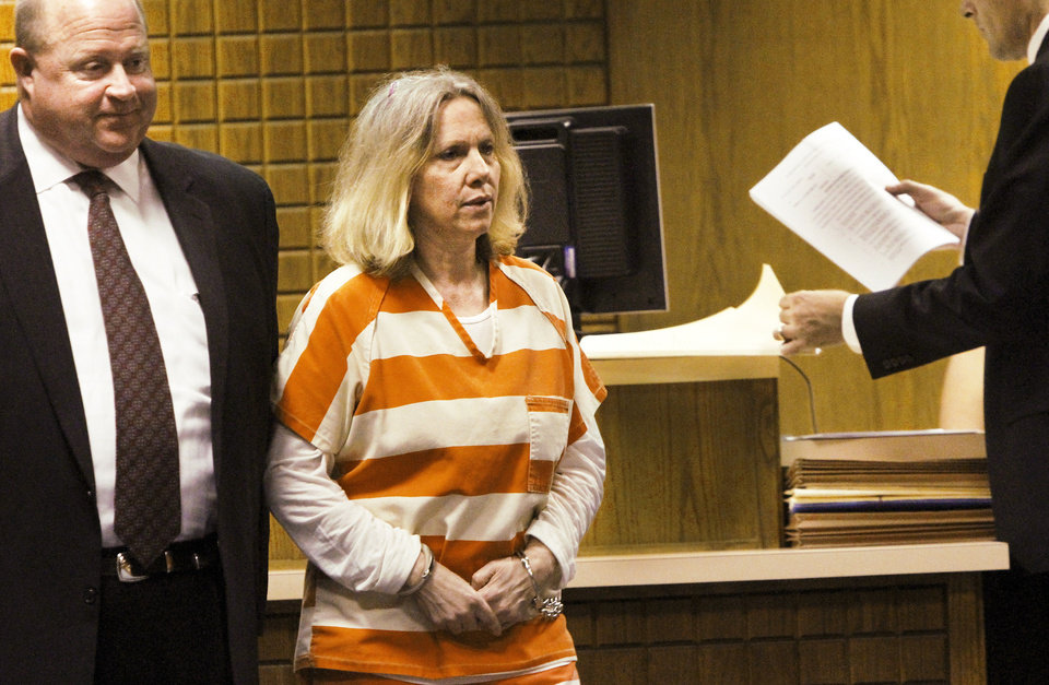 Becky Bryan and her attorney, Gary James, appeared Tuesday before District Judge Gary E. Miller at the Canadian County Courthouse for a preliminary hearing on a first-degree murder charge. Photo by Jim Beckel, THE OKLAHOMAN