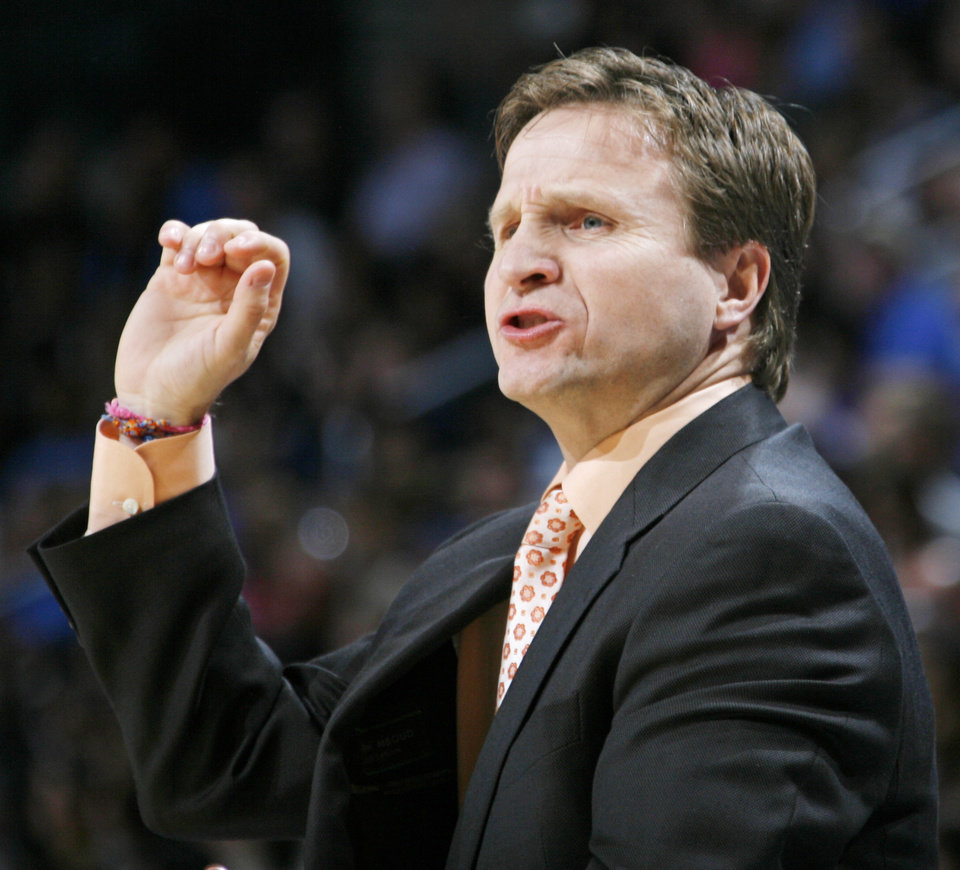 Thunder head coach Scott Brooks signals his team during the NBA basketball game between the Los Angeles Lakers and the Oklahoma City Thunder at the Ford Center in Oklahoma City, Friday, March 26, 2010. Oklahoma City won, 91-75. Photo by Nate Billings, The Oklahoman