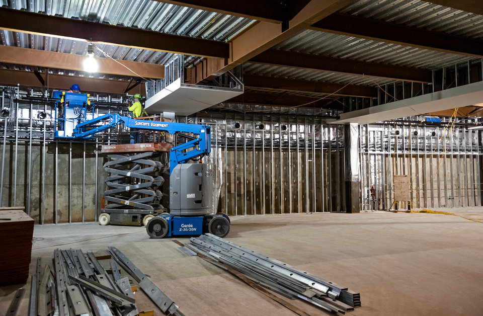 Photo - Crews continue work on the First Americans Museum (FAM) during a hard hat tour of construction of the facility in Oklahoma City, Okla. on Thursday, Dec. 12, 2019. The First Americans Museum (FAM) formerly known as the American Indian Cultural Center and Museum is set to open in the Spring of 2021.    [Chris Landsberger/The Oklahoman]