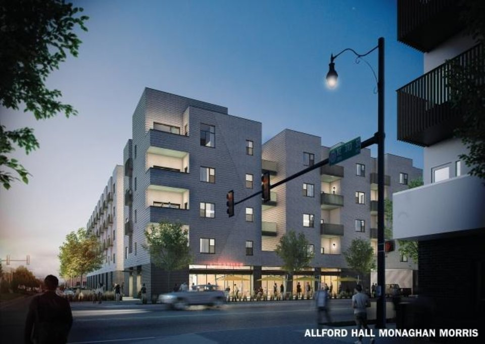 Photo -  The proposed LEVEL East apartments is shown in this rendering looking east from the corner of NE 3 and Walnut Avenue. Rendering by Allford Hall Monaghan Morris.