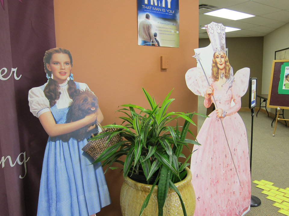 """Photo -  Colorful pop-up images of Dorothy and Glinda the Good Witch from """"The Wizard of Oz"""" are displayed in the hallway at St. Andrew Catholic Church in Moore as part of a Lenten mission called """"Over the Rainbow Into the Kingdom."""" Photo by Carla Hinton, The Oklahoman"""