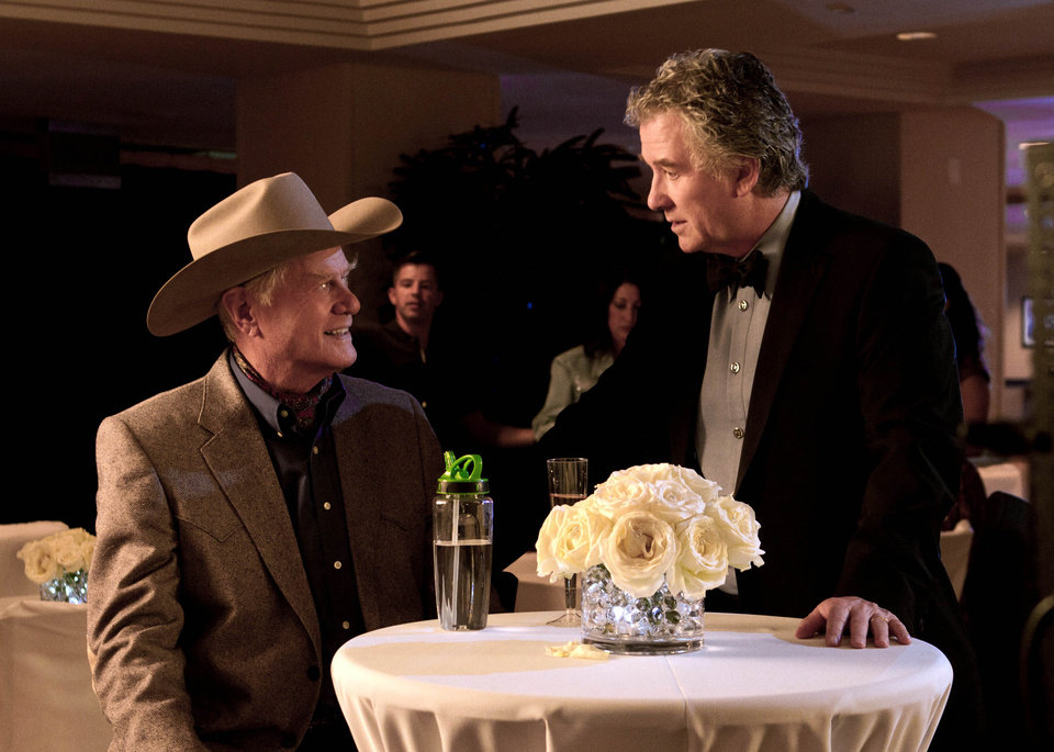 "This publicity image released by TNT shows Larry Hagman as J.R. Ewing, left, and Patrick Duffy as Bobby Ewing in a scene from ""Dallas,"" on TNT.  TNT begins the second season of its �Dallas� revival next month. The network said Tuesday, Dec. 11, that it will hold a funeral for Larry Hagman's memorable character at some point in the 15-episode season but that it hasn't been filmed or scheduled yet. Hagman died at age 81 over the Thanksgiving weekend. (AP Photo/TNT, Zade Rosenthal)"