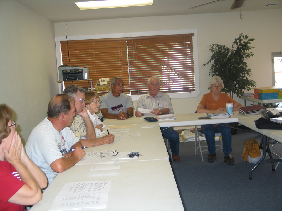 This photo pictures the surprise on many of the members� faces when Linda Parrish presented the check at the meeting, Thursday, August 16, 2007<br/><b>Community Photo By:</b> Karen Erbin, Editor for Harrah Historica<br/><b>Submitted By:</b> Karen, Harrah