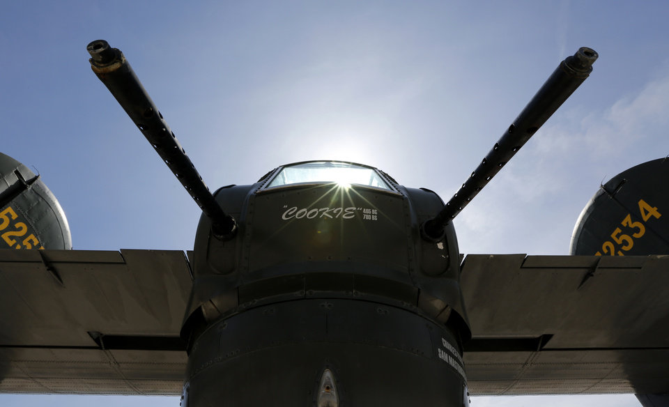 A B-24 Liberator on display at Wiley Post Airport in Oklahoma City , Friday April 5, 2013.The Wings of Freedom National Tour will be on display all weekend at Wiley Post Airport. Photo By Steve Gooch, The Oklahoman