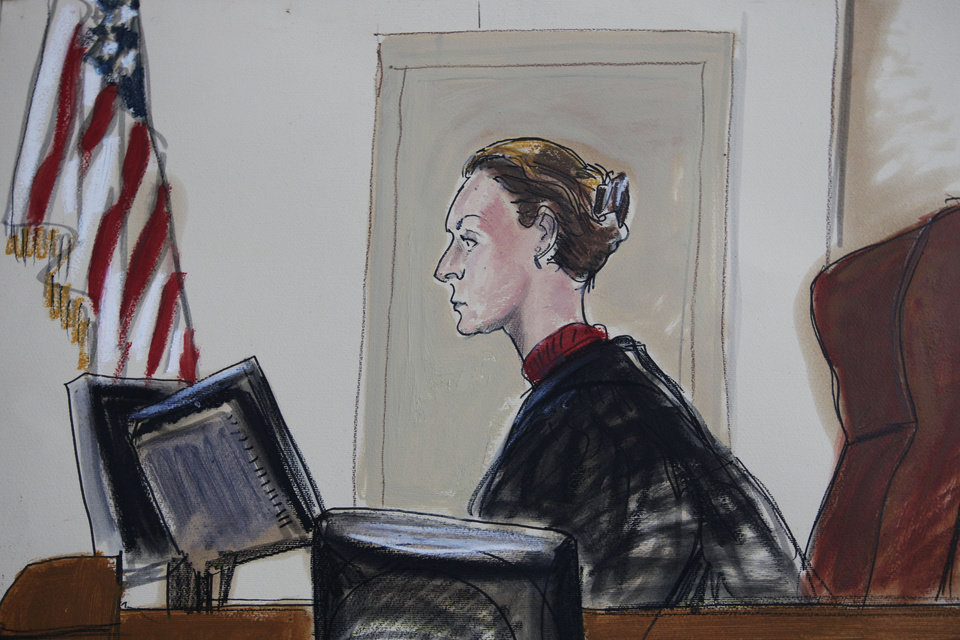 Photo -   This courtroom sketch shows Judge U.S. Magistrate Judge Roanne Mann in Brooklyn Federal Court in New York on Wednesday, Oct. 17, 2012 during a hearing for Quazi Mohammad Rezwanul Ahsan Nafis. The Bangladeshi man who came to the United States to wage jihad was arrested in an elaborate FBI sting on Wednesday after attempting to blow up a fake car bomb outside the Federal Reserve building in Manhattan, authorities said. Before trying to carry out the alleged terrorism plot, Nafis went to a warehouse to help assemble a 1,000-pound bomb using inert material, according to a criminal complaint. He also asked an undercover agent to videotape him saying,