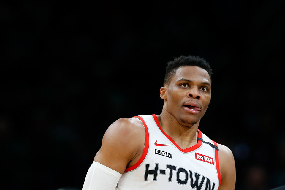 Photo - Feb 29, 2020; Boston, Massachusetts, USA; Houston Rockets guard Russell Westbrook (0) during the first half against the Boston Celtics quarter at TD Garden. Mandatory Credit: Winslow Townson-USA TODAY Sports