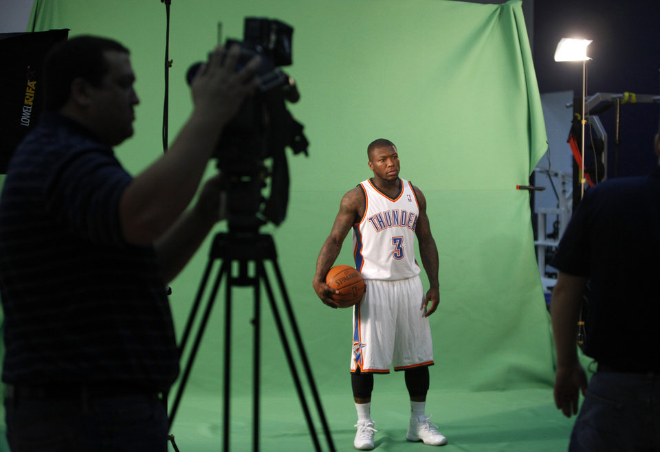Oklahoma City\'s Nate Robinson films video segments at the the Thunder practice facility, Saturday, Feb, 26, 2011, in Oklahoma City.Photo by Sarah Phipps, The Oklahoman