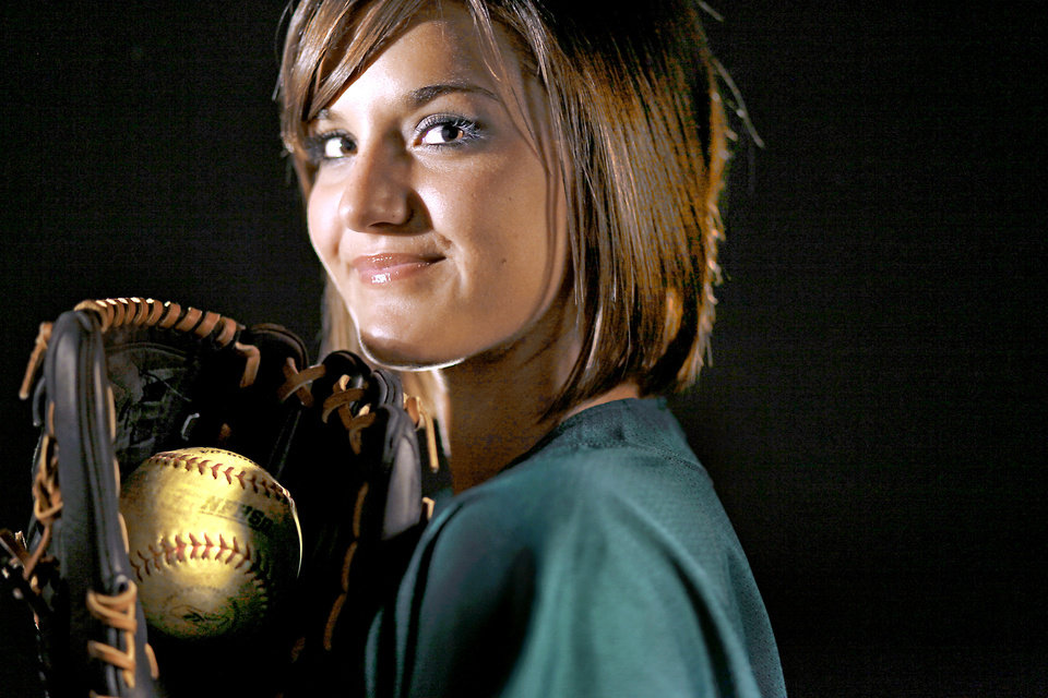Photo - Edmond Santa Fe's Sierra Bronkey had 129 strikeouts on the mound while also hitting .432 with 10 home runs.PHOTO BY CHRIS LANDSBERGER, THE OKLAHOMAN