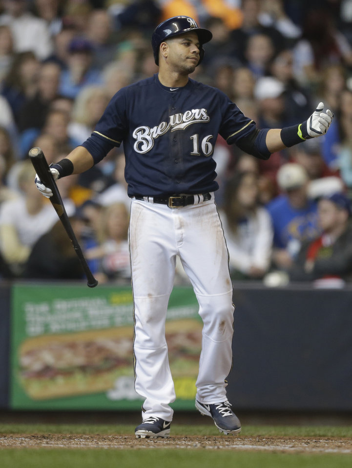 Photo - Milwaukee Brewers' Aramis Ramirez reacts to a called strike during the sixth inning of a baseball game against the Chicago Cubs, Sunday, April 27, 2014, in Milwaukee. (AP Photo/Jeffrey Phelps)