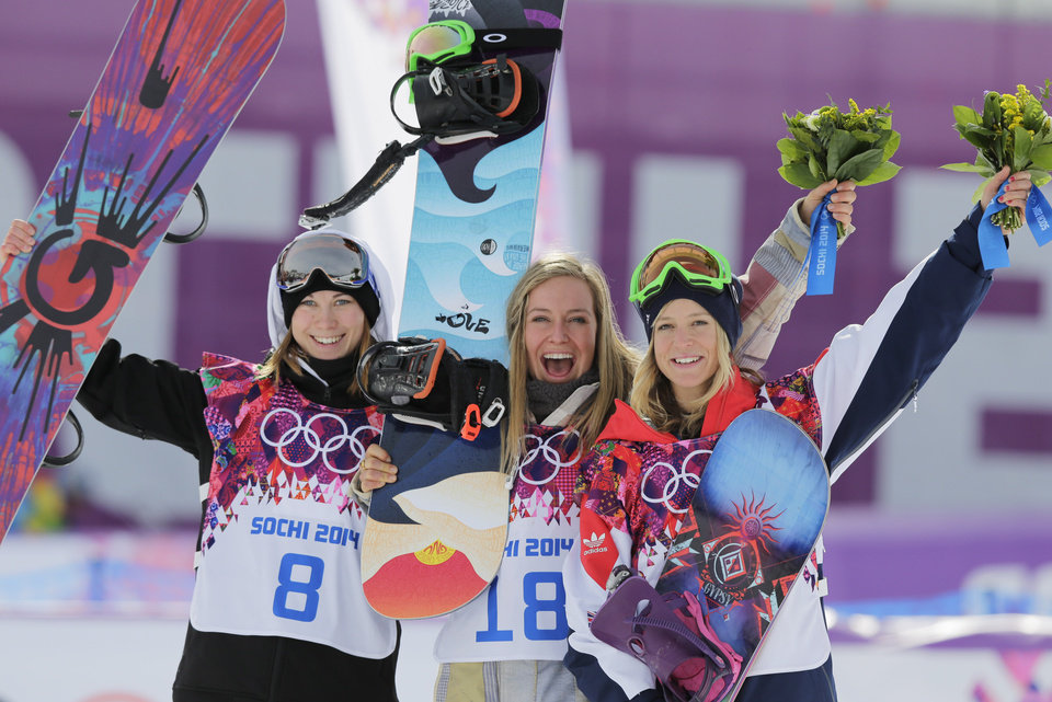 Photo - Jamie Anderson of the United States, center, celebrates with silver medalist Enni Rukajarvi of Finland, left,  and bronze medalist  Jenny Jones of Britain, after Anderson won the women's snowboard slopestyle final at the 2014 Winter Olympics, Sunday, Feb. 9, 2014, in Krasnaya Polyana, Russia.  (AP Photo/Andy Wong)