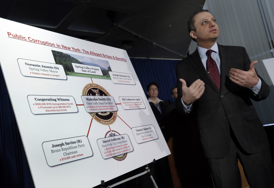 U.S. Attorney Preet Bharara uses a chart during a news conference, in New York, Tuesday, April 2, 2013, to explain that a New York state lawmaker was arrested Tuesday along with several other politicians, in an alleged plot to bribe his way into the race for mayor of New York City. Democratic state Sen. Malcolm Smith tried to pay off some of New York City\'s Republican party bosses to get himself on the ballot as a GOP candidate, federal prosecutors said. (AP Photo/Richard Drew)