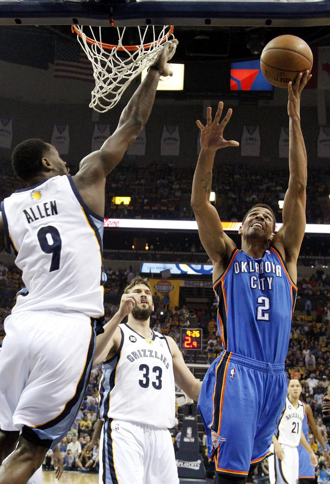 Oklahoma City\'s Thabo Sefolosha (2) shoots against Memphis\' Tony Allen (9) as Marc Gasol (33) looks on during Game 3 in the second round of the NBA basketball playoffs between the Oklahoma City Thunder and Memphis Grizzles at the FedExForum in Memphis, Tenn., Saturday, May 11, 2013. Photo by Nate Billings, The Oklahoman