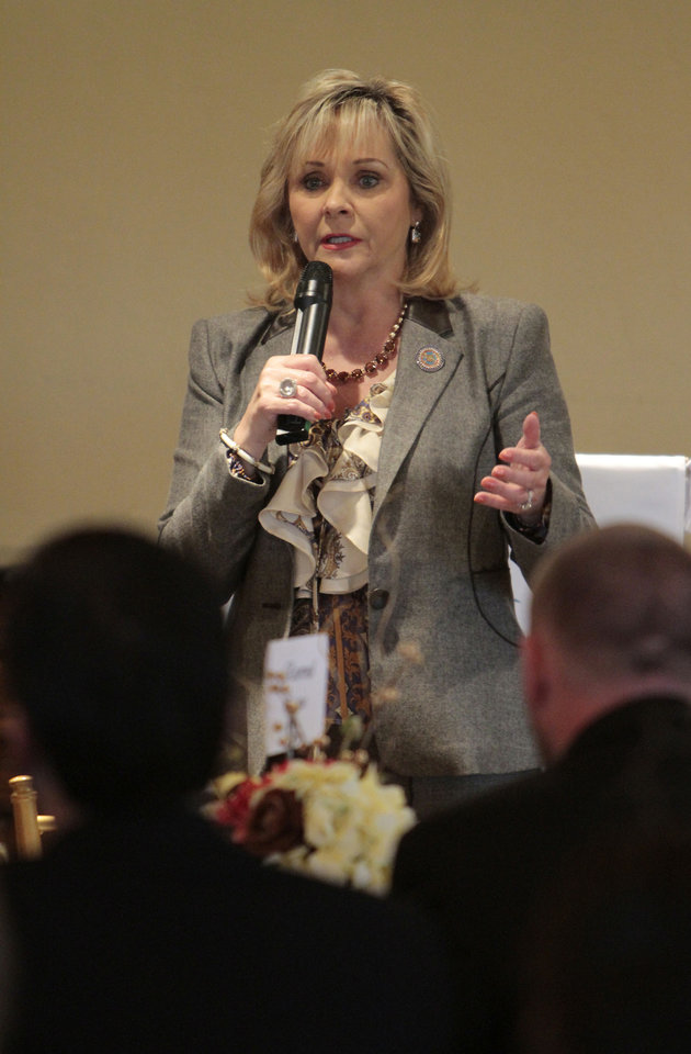 Gov. Mary Fallin speaks at the Edmond Area Chamber of Commerce luncheon.