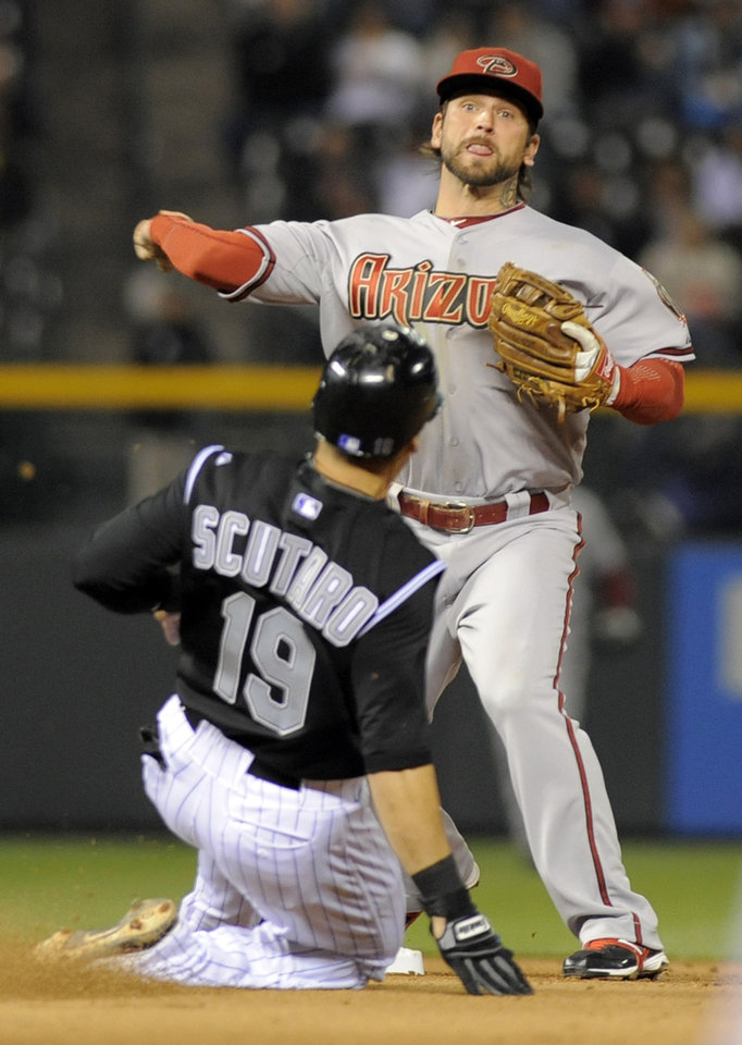 Photo -   Colorado Rockies' Marco Scutaro (19) is forced out at second by Arizona Diamondbacks second baseman Ryan Roberts, top, during the fourth inning of a baseball game on Friday, April 13, 2012, in Denver. (AP Photo/Jack Dempsey)