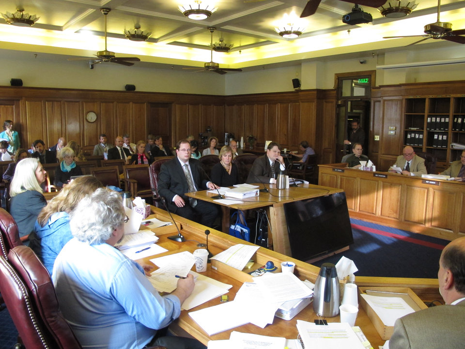Photo - Members of Gov. Sean Parnell's administration address the House Finance Committee as the committee prepares to advance the governor's gas line bill on Friday, April 18, 2014, in Juneau, Alaska. (AP Photo/Becky Bohrer)