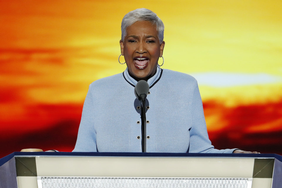Photo - Dr. Cynthia Hale, Pastor of the Ray of Hope Christian Church in Decatur, Ga., delivers the invocation during the first day of the Democratic National Convention in Philadelphia , Monday, July 25, 2016. (AP Photo/J. Scott Applewhite)