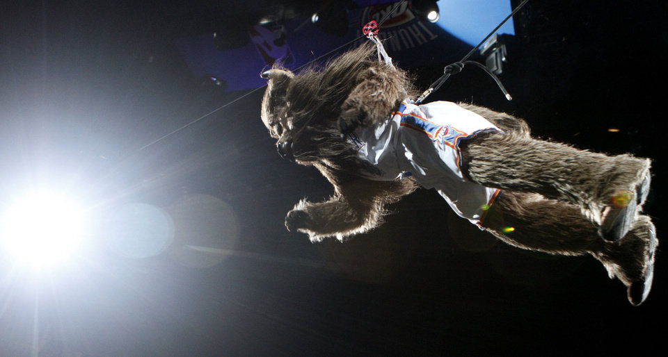 Photo - Rumble makes his entrance before the NBA basketball game between the Oklahoma City Thunder and the Chicago Bulls in the Oklahoma City Arena on Wednesday, Oct. 27, 2010. Photo by Bryan Terry, The Oklahoman