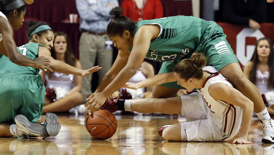 North Texas\' Loryn Goodwin (35) and Alexis Hyder (33) fight with Oklahoma\'s Whitney Hand (25) for a ball as the University of Oklahoma Sooners (OU) play the North Texas Mean Green in NCAA, women\'s college basketball at The Lloyd Noble Center on Thursday, Dec. 6, 2012 in Norman, Okla. Photo by Steve Sisney, The Oklahoman