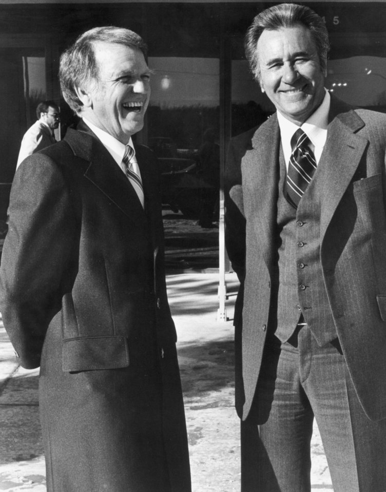 Gov. George Nigh, left, talks with Tulsa evangelist Oral Roberts at the prayer breakfast prior to Nigh's inauguration as Oklahoma's first three-term governor on January 8, 1979.  Staff photo by Roger Klock taken 1/8/79.