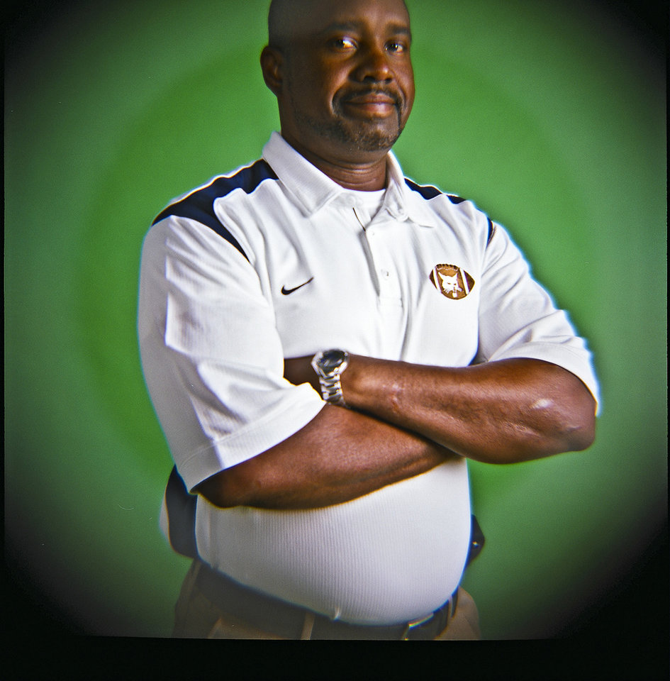 Coach Darrell Hall of Star Spencer High School on Monday, Dec. 14, 2009, in Oklahoma City, Okla.   Photo by Chris Landsberger, The Oklahoman